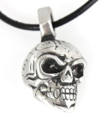 Pewter Skull Maori Tribal Gothic Pendant, Leather Necklace