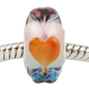 European charm glass bead colourful hearts