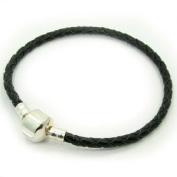 Beautiful 7.5 (7 1/2) Inch European Style Barrel Clasp Black Leather Bracelet.