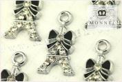 M04 Wholesale 10 PCS Black Bow Paris Tower Crystal Pendant Charm