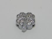 Shamrock Rhinestone Slide Charms - Lot of 15 - Jewellery Crafting 8mm