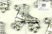M01 Wholesale 10 PCS Cute Clear Crystal Skate Shoe Pendant Charm