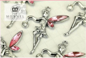 M48 Wholesale 10 PCS Cute Pink Crystal Wing Fairy Angel Pendant Charm