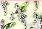 M08 Wholesale 10 PCS Green Crystal Wing Tinkerbell Fairy Pendant Charm