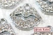 M13 Wholesale 10 PCS Crystal Sexy Lip Kiss Pendant Charm