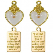 Heart Mustard Seed Charms and Plaques Gold 2 Sets