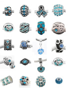 Ten (10) of Assorted Shades of Light Blue Crystal Rhinestone Charm Beads. Compatible With Most Major Charm Bracelets.