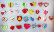 15 PC Cute Heart Romantic Mixed Lot of Charms - DIY Jewellery Crafting 8mm Enamel Pendants