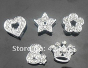 Mixed Lot Slide Charms - Lot of 15 - Jewellery Crafting 8mm - Heart Star Crown