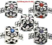 Pack of Five (5) Rhinestone Flower Design Rubber Stopper Bead ...