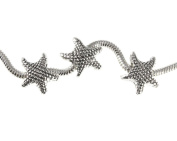 Three Starfish Slide On Silvertone Beads For European Style Charm Bracelets