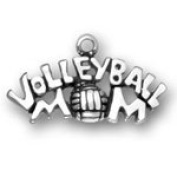 Sterling Silver Volleyball Mom Charm with Split Ring #2975