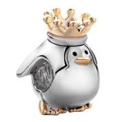 Pugster Cute Penguin King Charm Beads Fit Pandora Charm Bead Bracelet