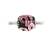 Pink Ribbon Breast Cancer Awareness & Survivor Slide On Silvertone Bead Fits All European Style Charm Bracelets