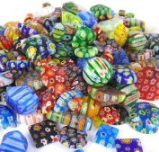 100 Gramme, Over 100pcs 6mm~25mm Mix Shapes & Colours Millefiori Lampwork Glass Beads, Round, Square, Oval, Tube, Heart... Great Lot, Must See.