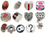 [10] Funny Valentine Pandora Style Bracelet Charms European Spacer Beads for Bracelets and Necklaces, Antique Silver Rhinestone Enamel Murano Lampwork Spacers, Bonus Charm, Gift Bag, an Authentic Timeline Treasures Original Manufactured By the Knight's ..
