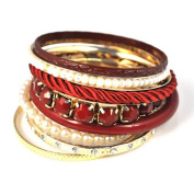 Vintage Jewellery Multi-rows Bangles with Pearl and Chains, BR-1344
