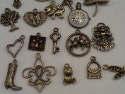 40pc Bronze Metal Charms Pendants, Assortment