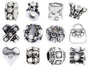 Clear Pandora Style April Birthstone Charms [12] European Antique Silver Diamond Crystal Rhinestone Bracelet Spacer Beads, Bulk Lot of Twelve Spacers for Bracelets and Necklaces, Unthreaded Core Size 4.5-5.5mm Fits Most Genuine Brands, an Authentic Tim ..