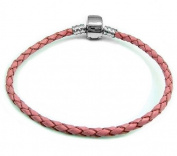 Timeline Treasures European Pandora Style Real Leather Stainless Steel Master Starter Charm Bracelet Pink 19cm Barrel Clasp