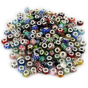 Bundle 100pc Lot Silver Lampwork Murano Glass European Mix Beads - Compatible With Most European Style Charm Bracelets.