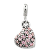 Sterling Silver Pink Cz Puffed Heart Enhancer, Best Quality Free Gift Box Satisfaction Guaranteed