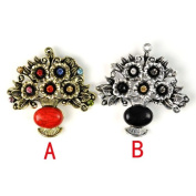 2 Colours Antique Style Cute Alloy Rhinestone Basket of Flowers Charms for Diy,pt-552 Each Colour 1 Piese