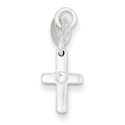Sterling Silver and CZ Polished Cross Charm - JewelryWeb