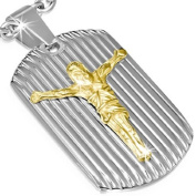 Stainless Steel Silver Yellow Gold Two-Tone Religious Jesus Crucifix Pendant Necklace with Chain