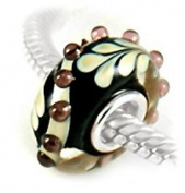 Artistic Swirl 3D Fern Artisan Glass Bead 925 Sterling Silver Full Core Charm For European Style Charm Bracelets