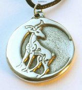 Stag Moon - Celtic - Pewter Pendant Jewellery - Celtic Deer with Crescent Necklace