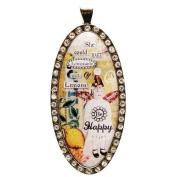 Santa Barbara Design Studio Rhinestone Bordered Oval Jewellery Charm by Artist Sally Jean