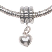 Beadaholique Fancy Puff Heart Charm Beads, Fits Pandora, 8mm, Sterling Silver