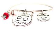 Cancer Zodiac Symbol Adjustable Wire Bangle Bracelet
