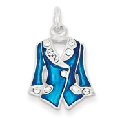 Sterling Silver Blue Enamelled and Crystal Jacket Charm. Metal Wt- 2.4g