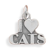 I Love Cats Sterling Silver Charm - Made in the USA