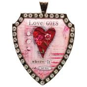 Santa Barbara Design Studio Rhinestone Bordered Shield-Shaped Jewellery Charm by Artist Sally Jean