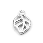Stones and Findings Exclusive Sterling Silver Tiny Leaf Charm