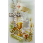 Trinity Crucifix Cross Prayer Card Set with Pewter Medal Crucifix on a 60cm Nickel Chain and Laminated Holy Card