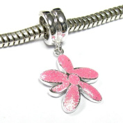 Sterling Silver Enamel Shinny Pink FLOWER dangle Bead for Pandora Troll European Story Charm Bracelets