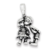 Sterling Silver Antiqued Boy Kissing Girl Pendant. Metal Wt- 3.4g