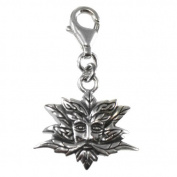 Sterling Silver Green Man Clip Charm Wiccan Pendant