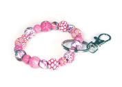 Viva Beads Pink Paradise Keychain   Clip 10mm   - Handmade Clay Beads Jewellery 05702022