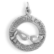 New Orleans with Mardi Gras Mask Charm Sterling Silver - Made in the USA