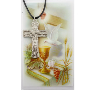 Trinity Crucifix Cross Prayer Card Set with Pewter Medal Crucifix on a 60cm Leather Cord and Laminated Holy Card