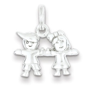Sterling Silver Polished Boy and Girl Charm - JewelryWeb