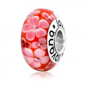 Murano Glass Red Cherry Blossom Pandora Type Charm Bead on Sterling Silver Red with Soft Pink Bordered and White Flowers, Fits Pandora, Chamilia, Troll Bracelet
