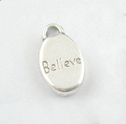 Silver Believe Word Charms 15mm Awareness Jewellery Package of 25 Charms
