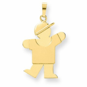 Genuine 14K Yellow Gold Solid Engravable Boy With Hat On Left Charm 2.3 Grammes Of Gold  .  d.