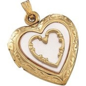14K Yellow Gold 20.50X19.50 14K Yellow With Mother Of Pearl Heart Locket